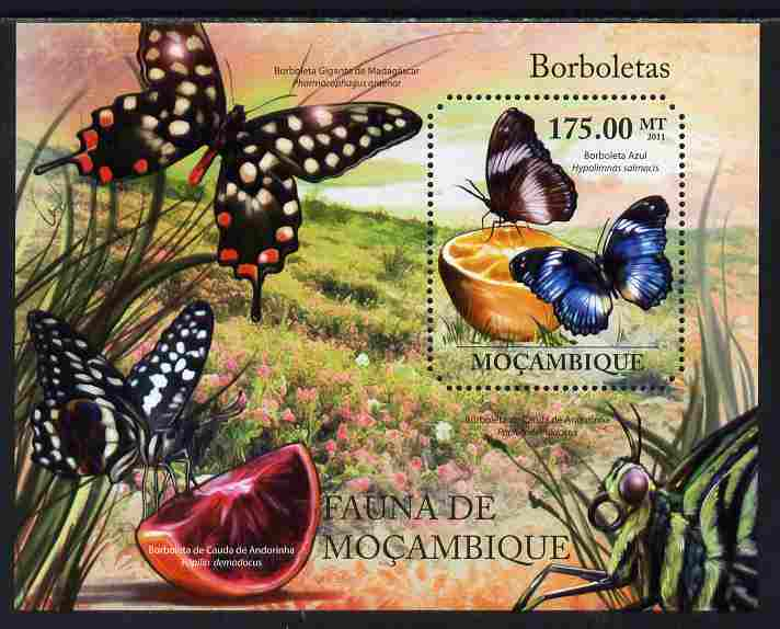 Mozambique 2011 Butterflies perf s/sheet containing octagonal shaped value unmounted mint