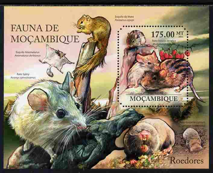 Mozambique 2011 Rodents perf s/sheet containing octagonal shaped value unmounted mint