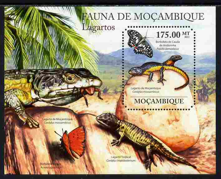 Mozambique 2011 Lizards perf s/sheet containing octagonal shaped value unmounted mint