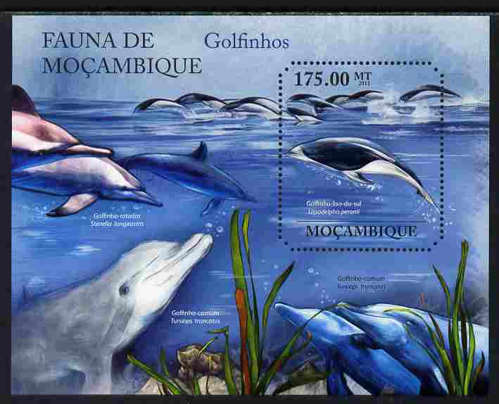 Mozambique 2011 Dolphins perf s/sheet containing octagonal shaped value unmounted mint