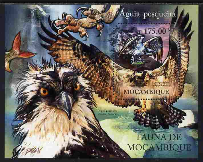 Mozambique 2011 Osprey perf s/sheet containing octagonal shaped value unmounted mint