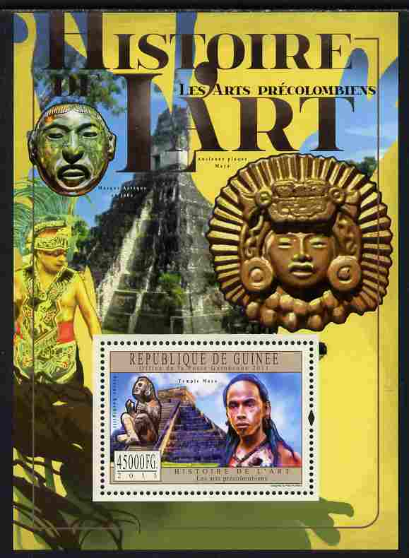 Guinea - Conakry 2011 History of Art - Pre-Columbian Art perf sp/sheet unmounted mint
