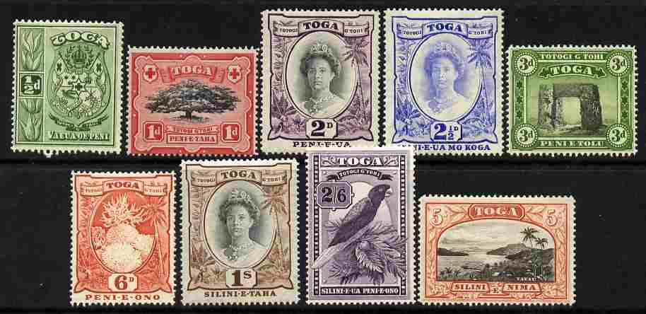 Tonga 1942-49 Pictorial set of 9 complete Script CA mounted mint SG 74-82