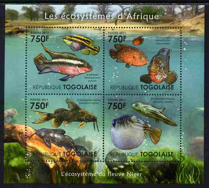 Togo 2011 Ecosystem of Africa - The Niger River perf sheetlet containing 4 values unmounted mint