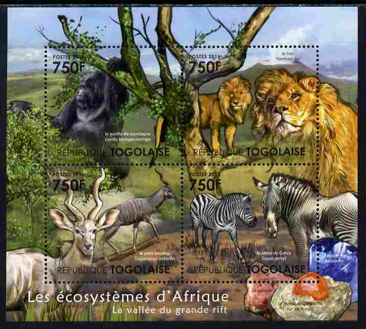Togo 2011 Ecosystem of Africa - The Great Rift perf sheetlet containing 4 values unmounted mint