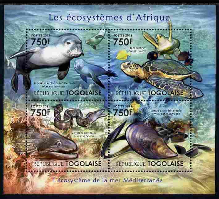 Togo 2011 Ecosystem of Africa - The Mediterranean Sea perf sheetlet containing 4 values unmounted mint