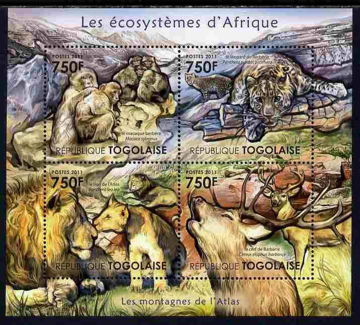 Togo 2011 Ecosystem of Africa - The Atlas Mountains perf sheetlet containing 4 values unmounted mint
