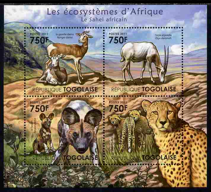 Togo 2011 Ecosystem of Africa - The Sahel Region perf sheetlet containing 4 values unmounted mint