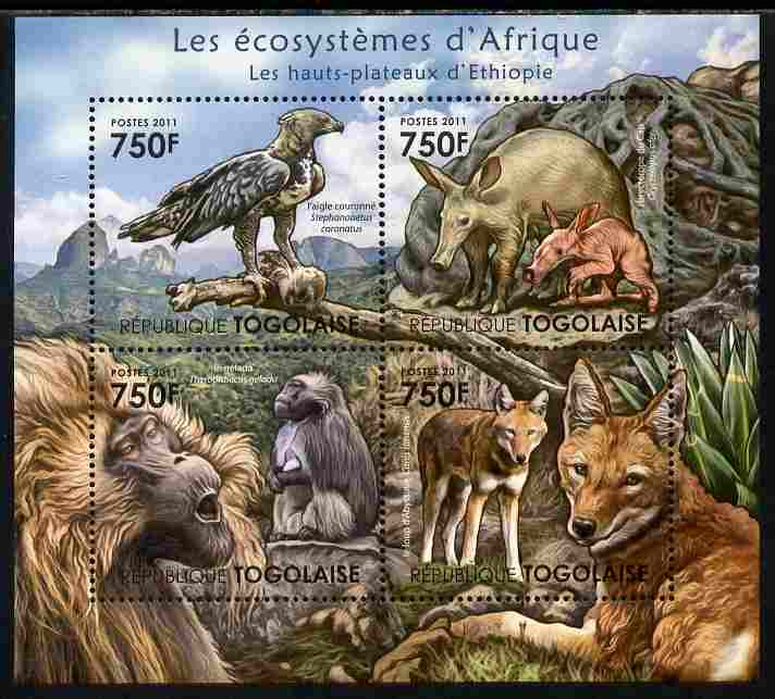 Togo 2011 Ecosystem of Africa - The Highlands of Ethiopia perf sheetlet containing 4 values unmounted mint