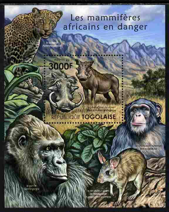 Togo 2011 Endangered Animals of Africa perf s/sheet unmounted mint