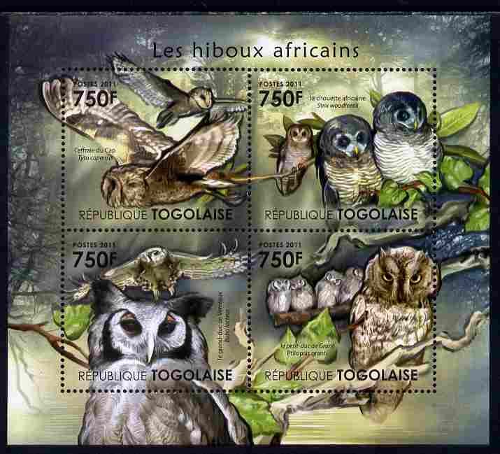 Togo 2011 Owls of Africa perf sheetlet containing 4 values unmounted mint