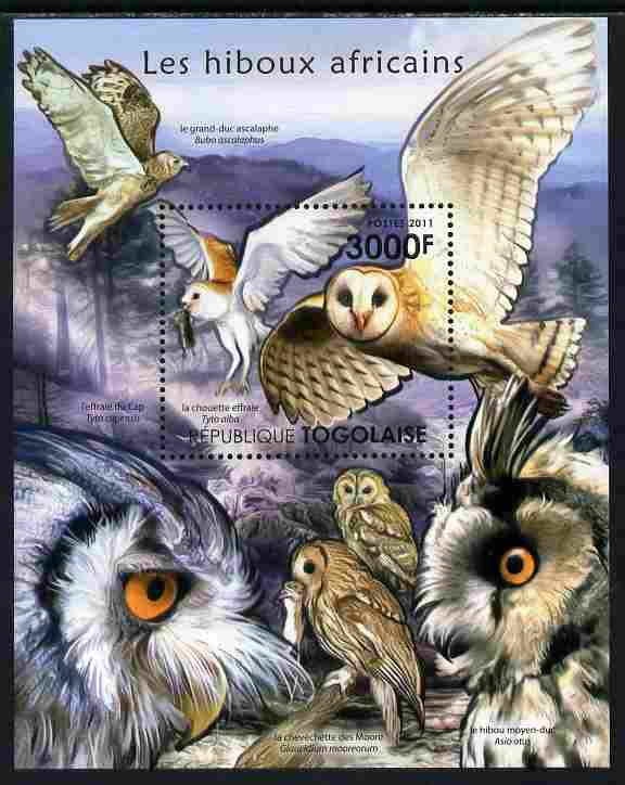Togo 2011 Owls of Africa perf s/sheet unmounted mint