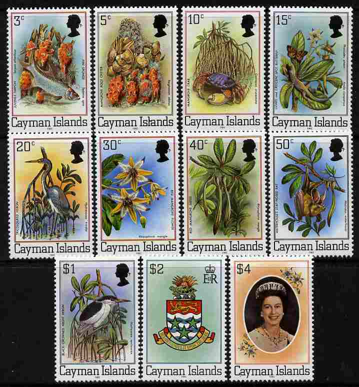 Cayman Islands 1982 Flora & Fauna definitive set of 11 with imprint dates unmounted mint SG 515B-25B