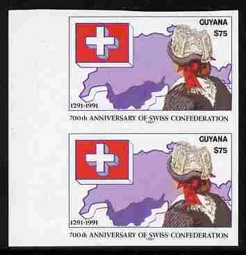 Guyana 1991 700th Anniversary of Swiss Confederation $75 imperf pair unmounted mint as SG 3216
