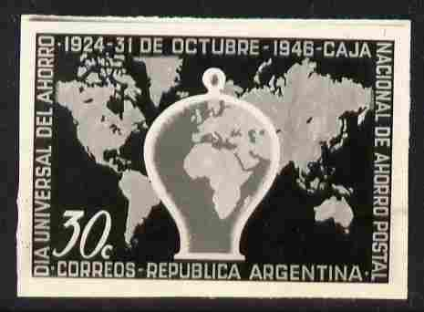 Argentine Republic 1946 Annual Savings Day 30c twice stamp-size black & white photographic proof of issued stamp as SG 788