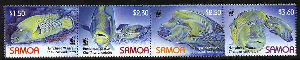 Samoa 2007 WWF - Humphead Wrasse perf strip of 4 unmounted mint
