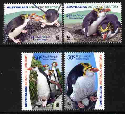 Australian Antarctic Territory 2007 WWF - Royal Penguin perf set of 4 unmounted mint