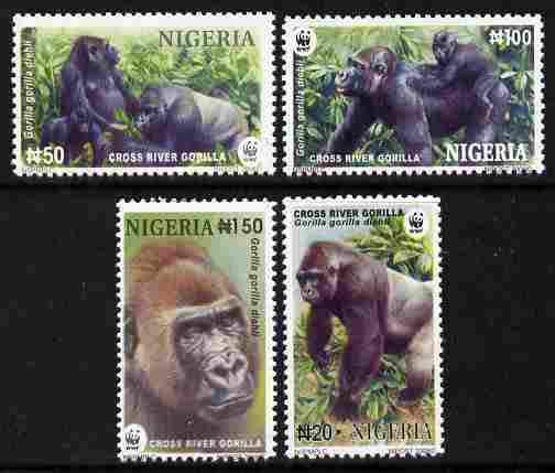 Nigeria 2008 WWF - Gorilla perf set of 4 unmounted mint