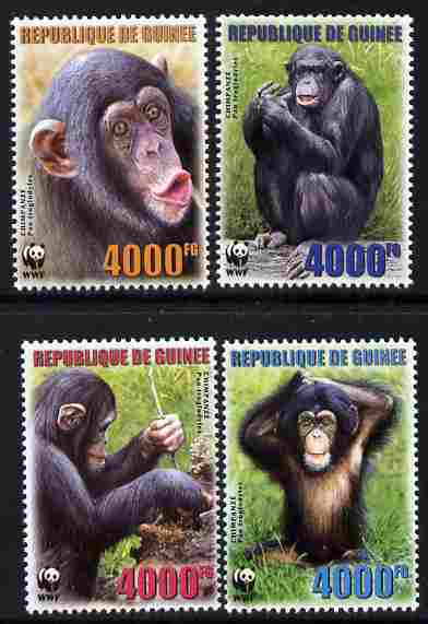 Guinea - Conakry 2007 WWF - Chimpanzee perf set of 4 unmounted mint. Note this item is privately produced and is offered purely on its thematic appeal