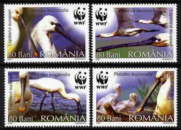 Rumania 2006 WWF - Eurasian Spoonbill perf set of 4 unmounted mint
