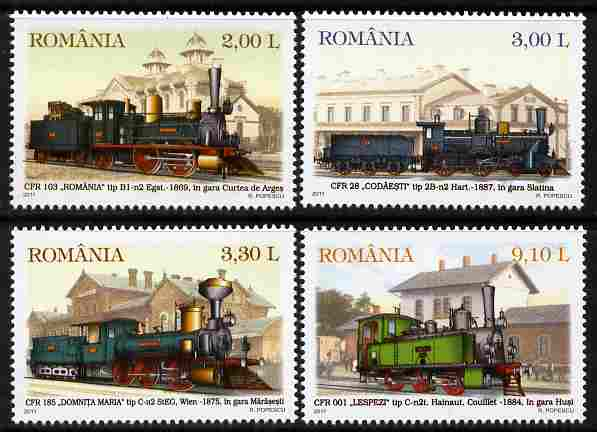 Rumania 2011 Steam Locomotives perf set of 4 unmounted mint