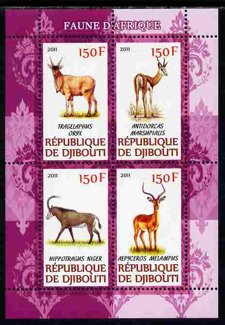 Djibouti 2011 African Fauna - Deer perf sheetlet containing 4 values unmounted mint