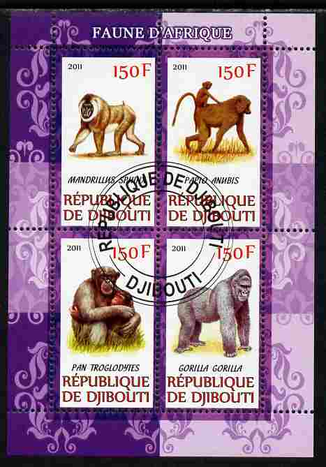 Djibouti 2011 African Fauna - Gorillas perf sheetlet containing 4 values cto used