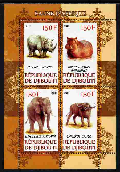 Djibouti 2011 African Fauna - Hippos, Rhinos & Elephants perf sheetlet containing 4 values unmounted mint