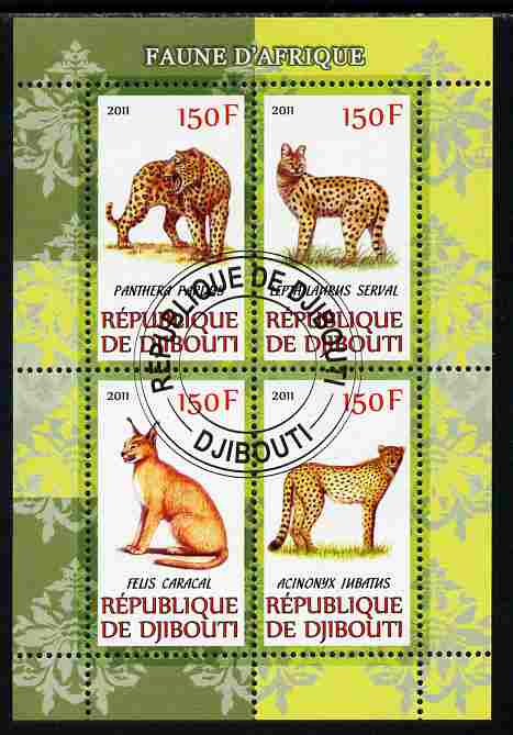 Djibouti 2011 African Fauna - Big Cats perf sheetlet containing 4 values cto used, stamps on animals, stamps on cats, stamps on panthers