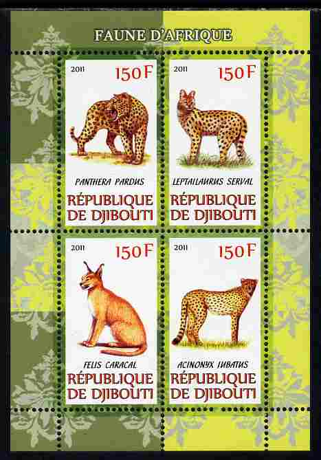 Djibouti 2011 African Fauna - Big Cats perf sheetlet containing 4 values unmounted mint