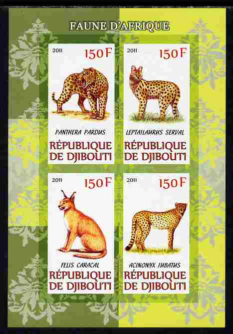 Djibouti 2011 African Fauna - Big Cats imperf sheetlet containing 4 values unmounted mint