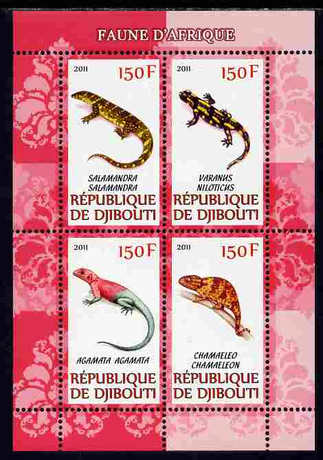 Djibouti 2011 African Fauna - Lizards perf sheetlet containing 4 values unmounted mint