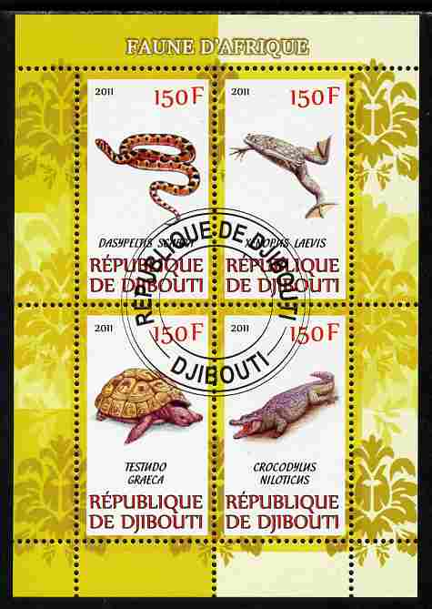 Djibouti 2011 African Fauna - Reptiles perf sheetlet containing 4 values cto used