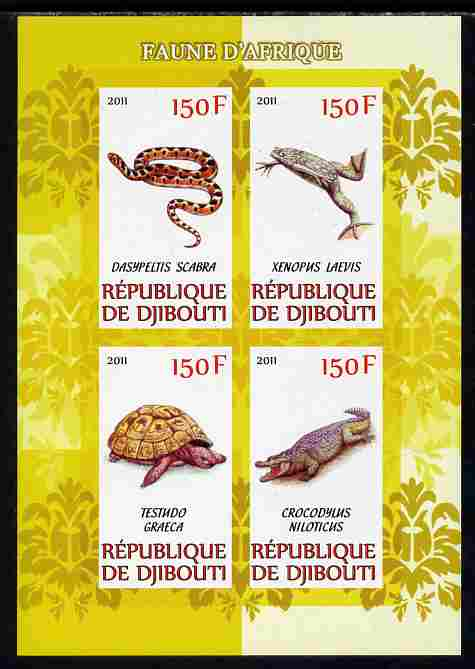 Djibouti 2011 African Fauna - Reptiles perf sheetlet containing 4 values unmounted mint
