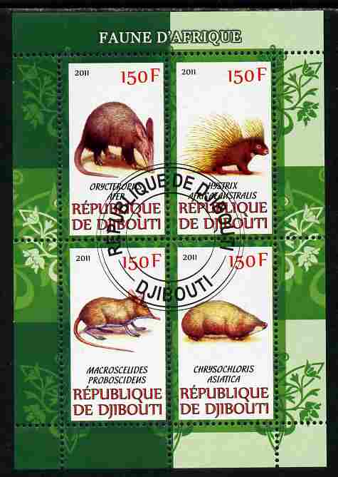 Djibouti 2011 African Fauna - Porcupines, Shrews & Aardvarks perf sheetlet containing 4 values cto used