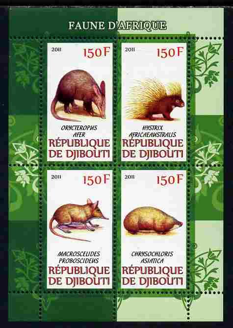 Djibouti 2011 African Fauna - Porcupines, Shrews & Aardvarks perf sheetlet containing 4 values unmounted mint