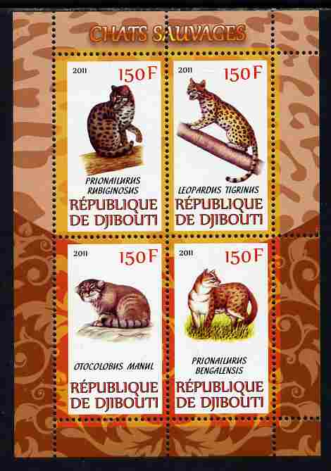 Djibouti 2011 Wild Cats perf sheetlet containing 4 values unmounted mint