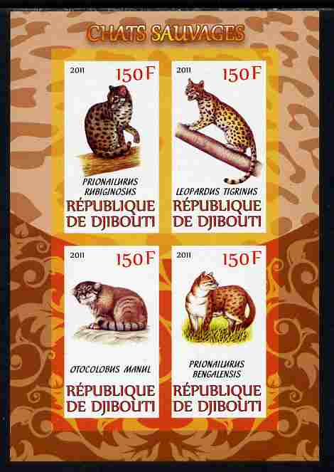 Djibouti 2011 Wild Cats imperf sheetlet containing 4 values unmounted mint