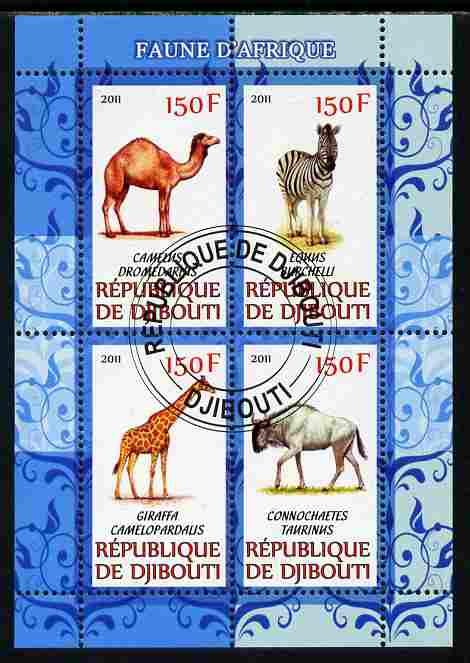 Djibouti 2011 African Fauna - Camels, Zebra & Giraffe perf sheetlet containing 4 values cto used