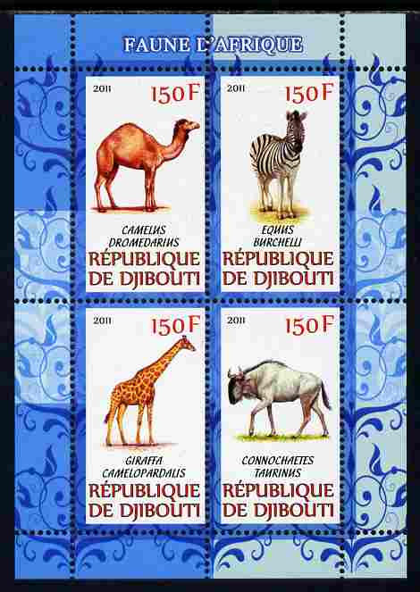 Djibouti 2011 African Fauna - Camels, Zebra & Giraffe perf sheetlet containing 4 values unmounted mint