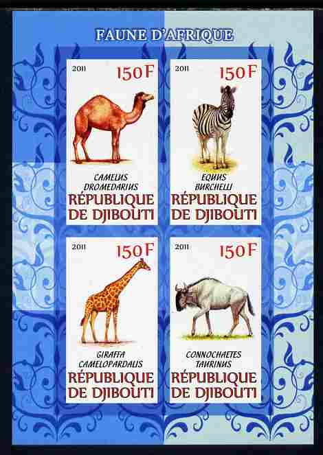 Djibouti 2011 African Fauna - Camels, Zebra & Giraffe imperf sheetlet containing 4 values unmounted mint, stamps on animals, stamps on camels, stamps on zebras, stamps on giraffes, stamps on bovine