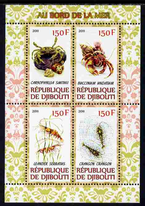 Djibouti 2011 Fauna of the Sea Shore perf sheetlet containing 4 values unmounted mint