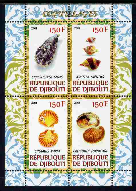 Djibouti 2011 Shells #1 perf sheetlet containing 4 values unmounted mint