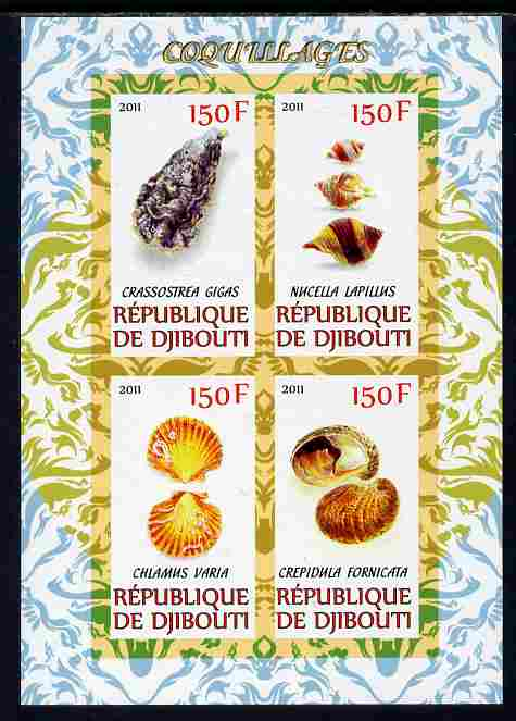 Djibouti 2011 Shells #1 imperf sheetlet containing 4 values unmounted mint