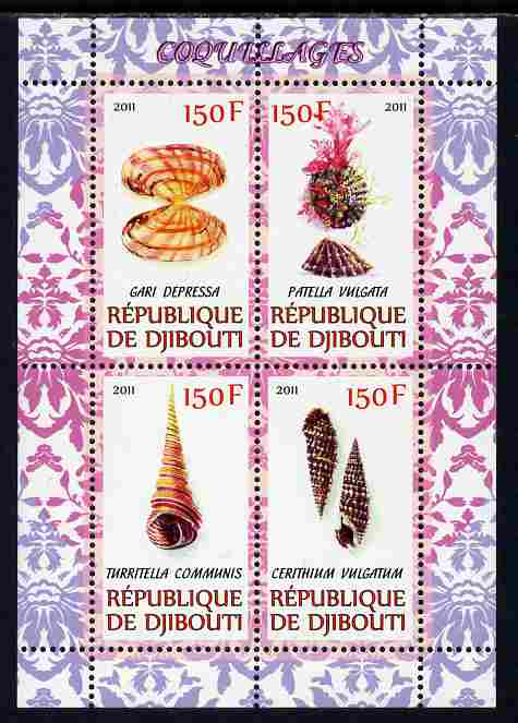 Djibouti 2011 Shells #2 perf sheetlet containing 4 values unmounted mint