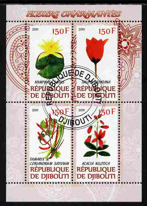 Djibouti 2011 Beautiful Flowers #1 perf sheetlet containing 4 values cto used