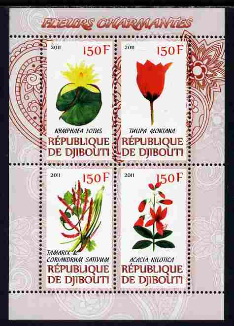 Djibouti 2011 Beautiful Flowers #1 perf sheetlet containing 4 values unmounted mint