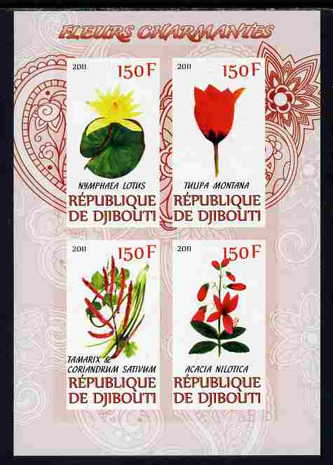 Djibouti 2011 Beautiful Flowers #1 imperf sheetlet containing 4 values unmounted mint