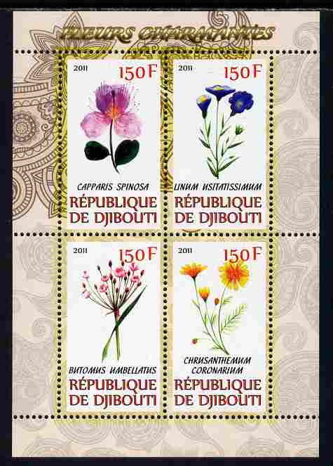 Djibouti 2011 Beautiful Flowers #2 perf sheetlet containing 4 values unmounted mint