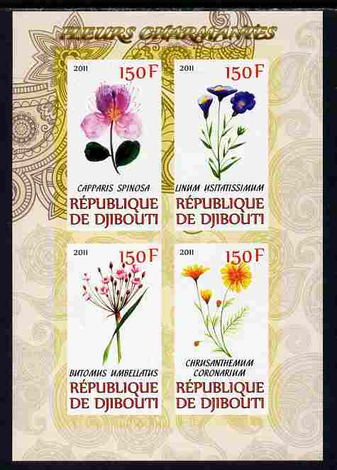 Djibouti 2011 Beautiful Flowers #2 imperf sheetlet containing 4 values unmounted mint